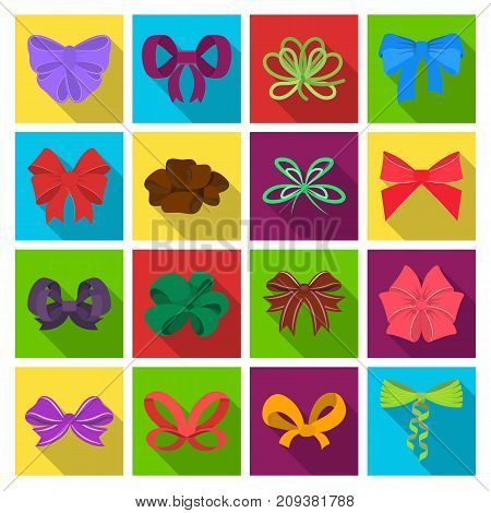 Ribbon, basma, bandage, and other  icon in flat style.Textiles, decor, bows icons in set collection