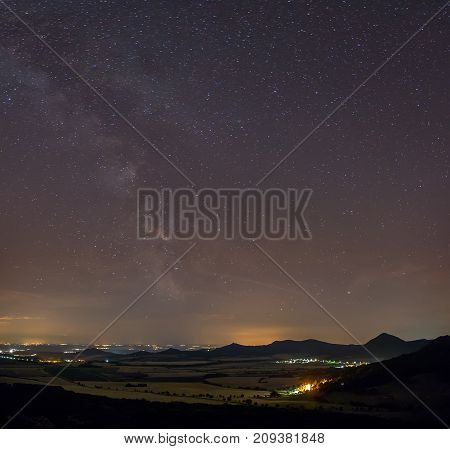 Czech Milky Way View From The Mountain