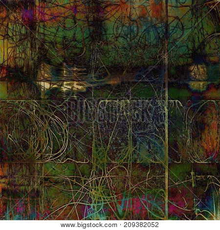 Old scratched retro-style background. With different color patterns