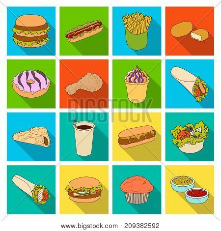 Meal, celebration, cafe, and other  icon in flat style.Hamburger, bun, cutlet icons in set collection