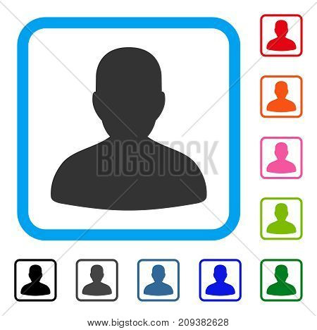 Avatar icon. Flat gray iconic symbol in a light blue rounded squared frame. Black, gray, green, blue, red, orange color variants of Avatar vector. Designed for web and software user interface.