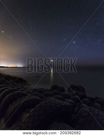 Sunset Venus starry sky coast baltic sea