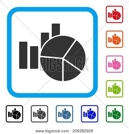 Charts icon. Flat grey pictogram symbol in a light blue rounded square. Black, gray, green, blue, red, orange color additional versions of Charts vector. Designed for web and app user interface.