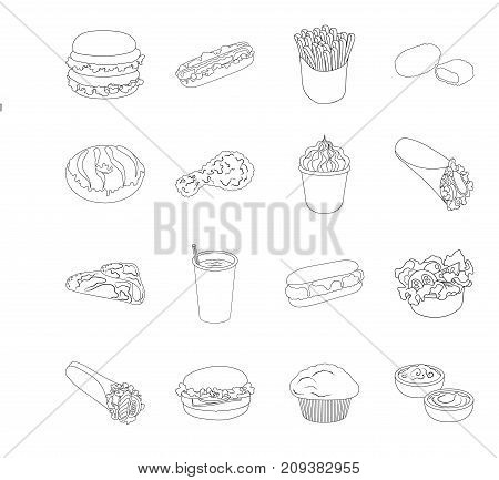 Meal, celebration, cafe, and other  icon in outline style.Hamburger, bun, cutlet icons in set collection