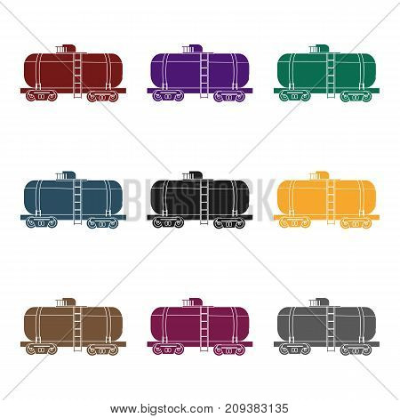Oil tank car icon in black style isolated on white background. Oil industry symbol vector illustration.