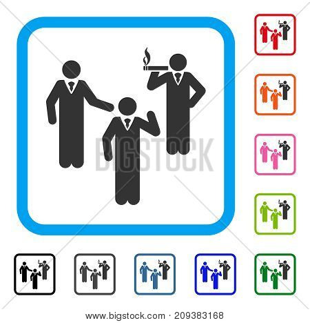 Discussion Group icon. Flat gray pictogram symbol in a light blue rounded frame. Black, gray, green, blue, red, orange color versions of Discussion Group vector. Designed for web and software UI.