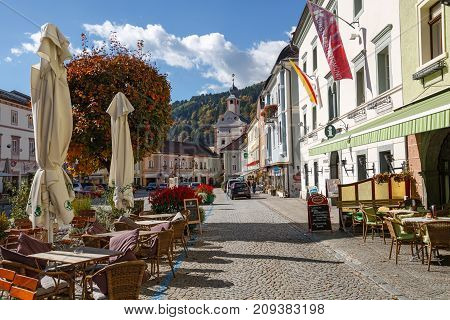 GMUEND IN KAERNTEN/ AUSTRIA - OCTOBER 10, 2017. Gmuend in Kaernten, a historic town in the district of Spittal an der Drau, in the Austrian state of Carinthia.