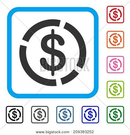 Dollar Diagram icon. Flat grey pictogram symbol inside a light blue rounded frame. Black, gray, green, blue, red, orange color additional versions of Dollar Diagram vector.