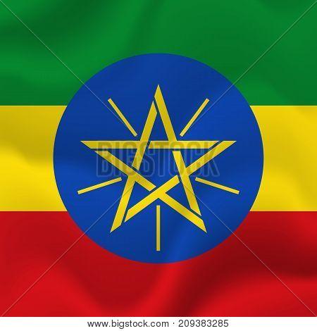 Ethiopia waving flag. Waving flag. Vector illustration.