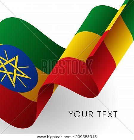 Ethiopia flag. Patriotic design. Waving flag. Vector illustration.