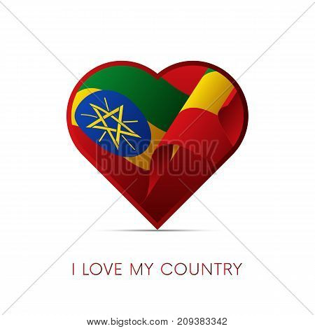 Ethiopia flag in heart. I love my country. Sign. Vector illustration.