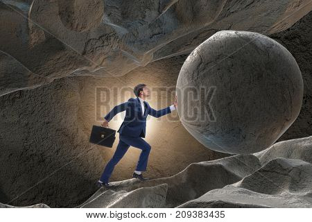 Businessman in difficult challenge concept poster