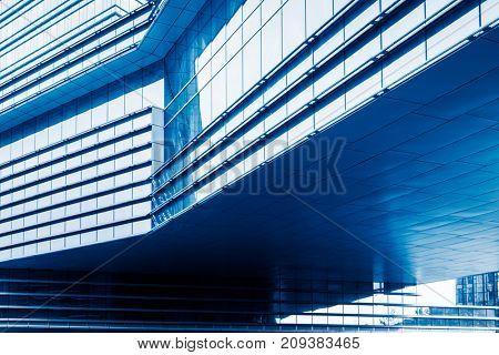 modern office buildings exterior,detail shot,blue toned,shanghai,china.