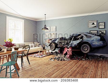 The broken car in the room. 3d concept. Rendering