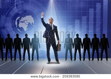 Businessman in the spotlight in business concept