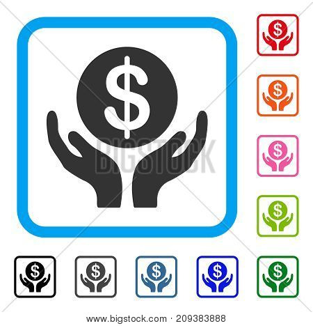 Financial Maintenance Hands icon. Flat gray iconic symbol in a light blue rounded frame. Black, gray, green, blue, red, orange color versions of Financial Maintenance Hands vector.