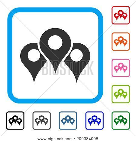 Locations icon. Flat grey pictogram symbol in a light blue rounded frame. Black, gray, green, blue, red, orange color additional versions of Locations vector.