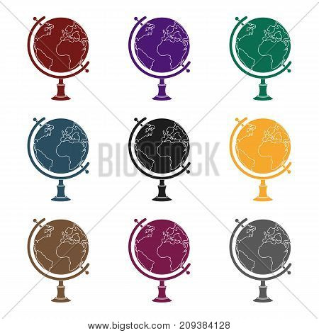 Globe icon in black design isolated on white background. Rest and travel symbol stock vector illustration.