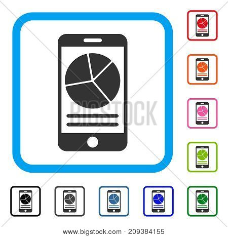 Mobile Report icon. Flat gray iconic symbol inside a light blue rounded rectangular frame. Black, gray, green, blue, red, orange color additional versions of Mobile Report vector.