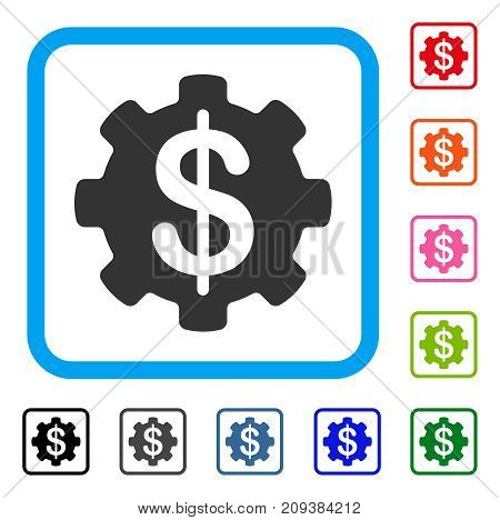 Payment Options Gear icon. Flat grey pictogram symbol in a light blue rounded squared frame. Black, gray, green, blue, red, orange color variants of Payment Options Gear vector.
