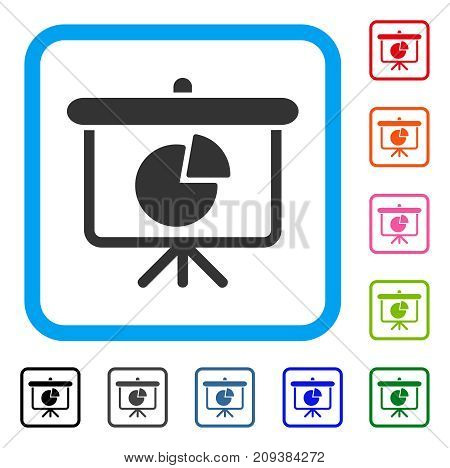 Pie Chart Demonstration icon. Flat grey pictogram symbol in a light blue rounded rectangle. Black, gray, green, blue, red, orange color additional versions of Pie Chart Demonstration vector.