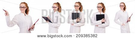 Young  medical  student  writing on the  binder isolated on whit