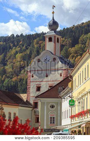 GMUEND IN KAERNTEN/ AUSTRIA - OCTOBER 10, 2017. Gmuend in Kaernten, a historic town in the district of Spittal an der Drau, in the Austrian state of Carinthia. Austria