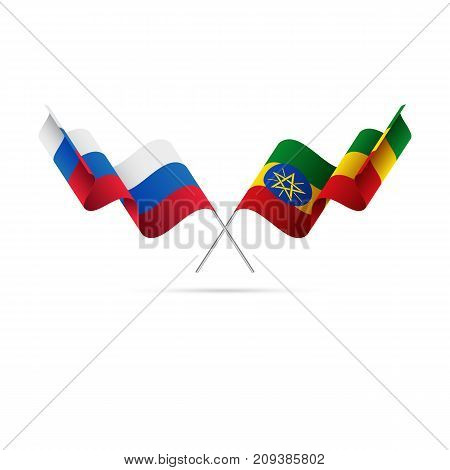 Russia and Ethiopia flags. Waving flags. Vector illustration.