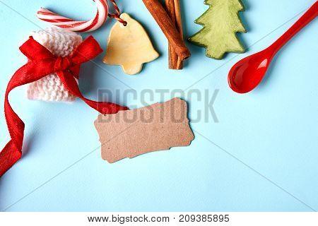 christmas sale. flaytlay with christmas simbols and place for text