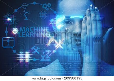 Woman in machine learning concept