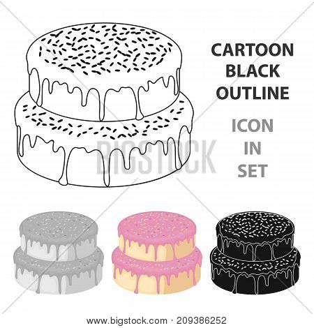 ake with candy powder icon in cartoon design isolated on white background. Cakes symbol stock vector illustration.