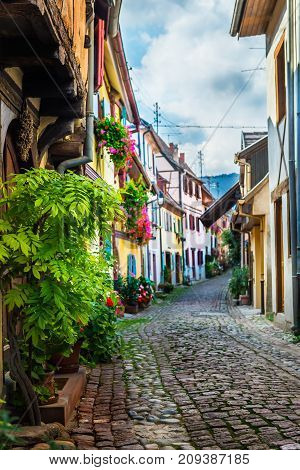 Traditional French Houses And Shops In Eguisheim, Alsace, France
