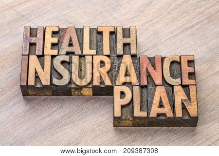 health insurance plan word abstract in in vintage letterpress wood type