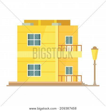 House cartoon vector illustration. Town building isolated
