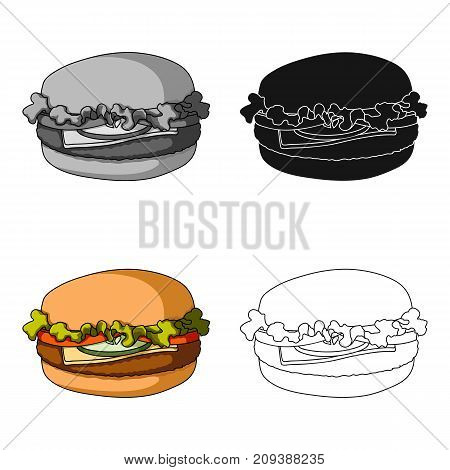 Cheeseburger, single icon in cartoon style.Cheeseburger, vector symbol stock illustration .