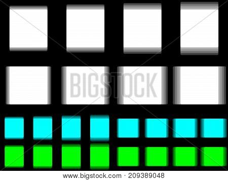 Vibrant square vibrating white cyan green square horizontal and vertical vibration of figure quadratic template with vibration effect on black background