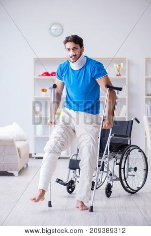 Injured young man recovering at home