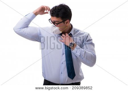 Businessman sweating excessively smelling bad isolated on white