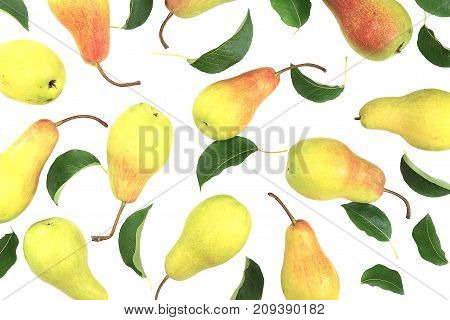Delicious yellow ripe pears with leaf on pink background. Beautiful pattern. Modern and geometric design. Top view.