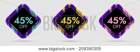 45 Off Discount Sticker. 45 Off Sale and Discount Price Banner. Vector Frame with Grunge and Price Discount Offer
