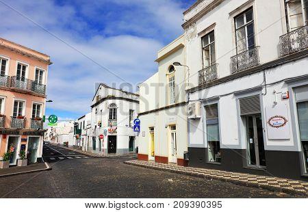 PONTA DELGADA, 10 AUGUST 2017 - Architecture of Ponta Delgada, Sao Miguel Island, Azores, Portugal, Europe