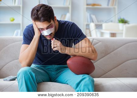 Young man defeated in sports game suffered loss with broken blee