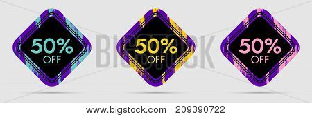50 Off Discount Sticker. 50 Off Sale and Discount Price Banner. Vector Frame with Grunge and Price Discount Offer