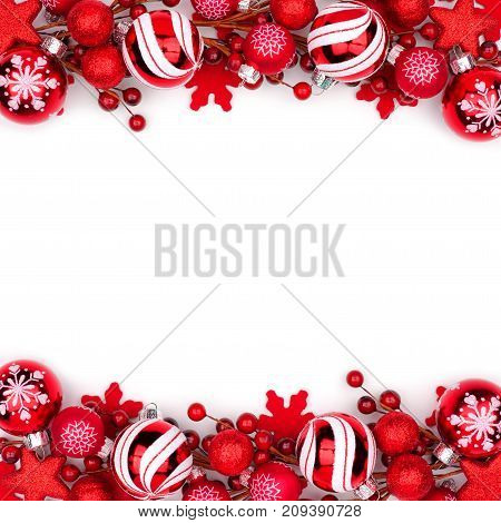 Christmas Double Border Of Red Ornaments Isolated On A White Background