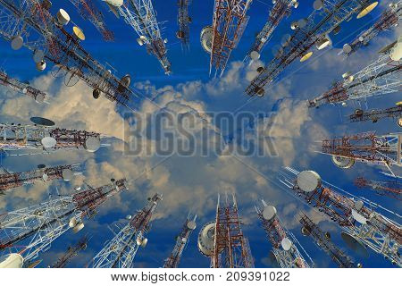 Antenna Of Cellular Cell Phone And Communication System Tower With Cloud On Center Blue Sky, Telecom