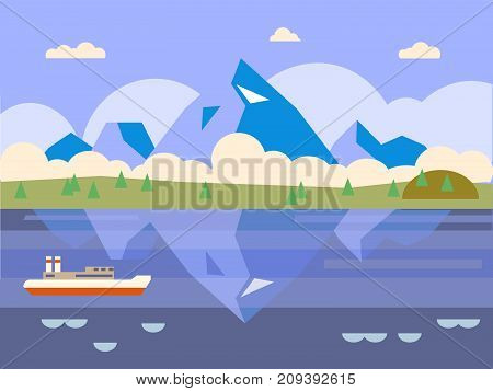 Flat mountains. Mission and achievement.  illustration. Nature and travel