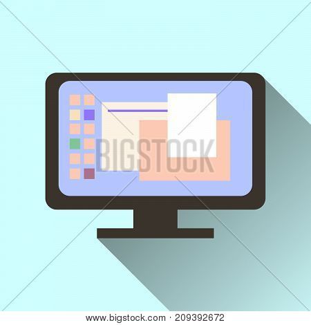 computer screen icon with long shadow isolated on orange background.  illustrations