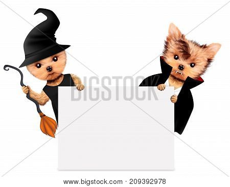 Funny cartoon animal Dracula and witch behind a banner. Halloween and Dead day concept. Realistic 3D illustration.