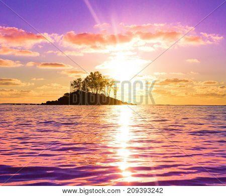 Evening Island Nightfall