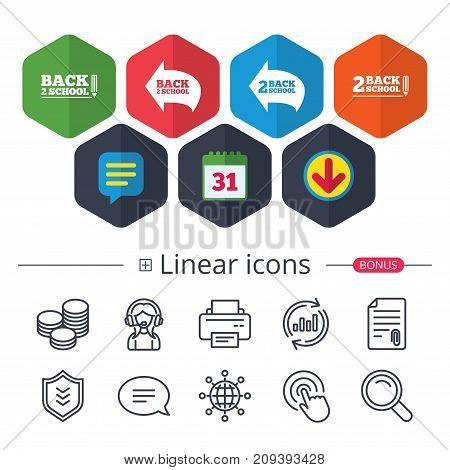 Calendar, Speech bubble and Download signs. Back to school icons. Studies after the holidays signs. Pencil symbol. Chat, Report graph line icons. More linear signs. Editable stroke. Vector